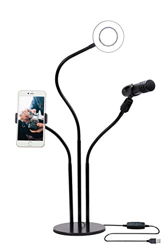 Mobile Live Stream Equipment, Phone and Mic Stand with Light,...