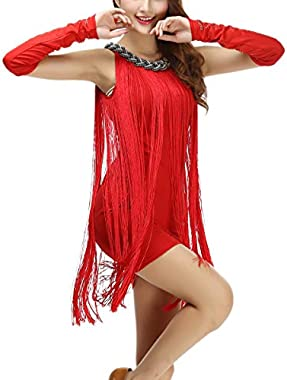 Whitewed Chain Neck Charleston Tassel Tank Latin Dance Dresses Wear Costumes