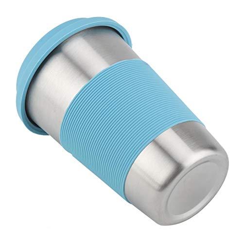 Taza para beber de acero inoxidable, botella de agua con aislamiento térmico, taza de agua de 500 ml, sin toxinas, duradera para viajes al aire libre(Water blue)