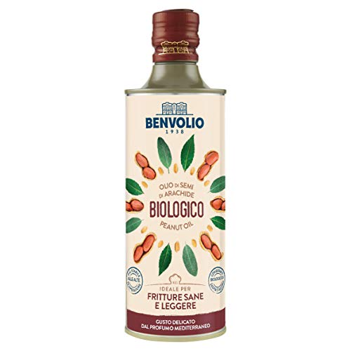 BENVOLIO 1938 BIO ERDNUSSÖL Bio - 500 ml - sehr hoch erhitzbar öl zum Braten - Frittierfett Erdnussöl Zum Frittieren mit organischen Salbei und Lorbeerextrakten angereichert. Peanut Oil