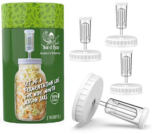 Year of Plenty BPA-Free White Fermentation Lids - for Making Sauerkraut in Wide Mouth Mason Jars - Set of 4 - Includes Instructions and Recipe… (White)