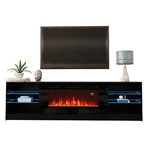"Boston 01 Electric Fireplace Modern 79"" TV Stand (Black)"