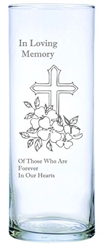 """IE Laserware Cross and Flowers Beautifully Laser Etched on This 9"""" Memorial Candle. Comes Complete with 3"""" Floating Candle, just add Water and Light The Wick!"""