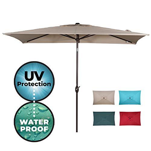 Abba Patio Rectangular Patio Umbrella Outdoor Market Table Umbrella with Push Button Tilt and Crank for Garden, Lawn, Deck, Backyard & Pool, 6.6 by 9.8 Ft, Beige