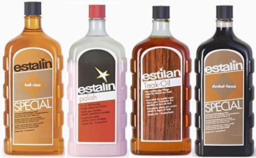 Estalin Special SET - 4 x je 250ml Estalin Spezial- Hell/Dunkel/Teak-Öl/Polish*****Reinigung und Pflege von Möbeln und Oberflächen aus Holz*****