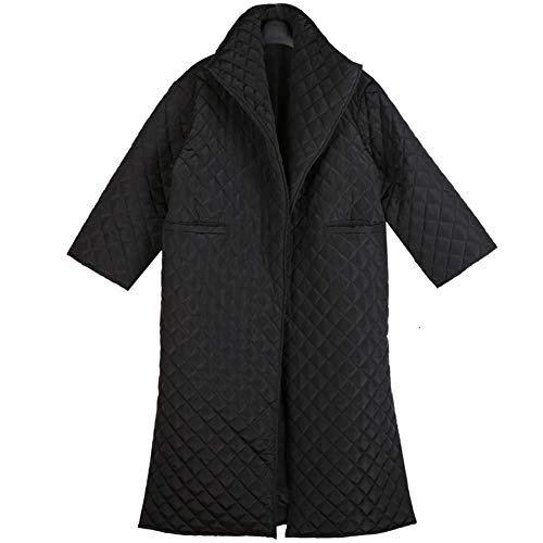 PASLWSSY Black Split Big Size Long Cotton Padded Coat, Long Sleeve Loose Lapel Stand Collar Fit Women Casual Parkas Fashion Tide with Pockets,S
