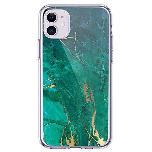 Miracle Girl Carcasa para iPhone 11, funda de silicona transparente brillante TPU, ultrafina, antideslizante, mármol, protección completa 8 Talla única