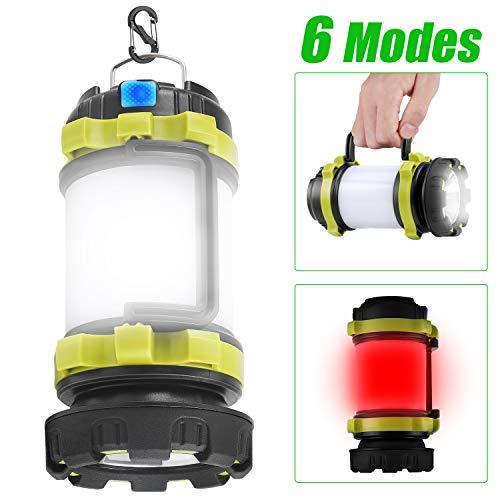 KeShi Camping Lantern Rechargeable Flashlight, LED Lamp 6 Modes, 4000mAh Power Bank, Two Way Hook of...