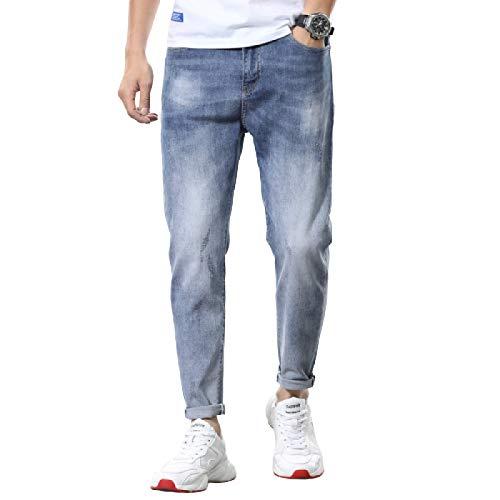 Pantalones Vaqueros para Hombre Primavera y Verano Nueva Tendencia Hip-Hop Pantalones Vaqueros elásticos Personalidad de la Moda Pantalones Vaqueros Casuales 34