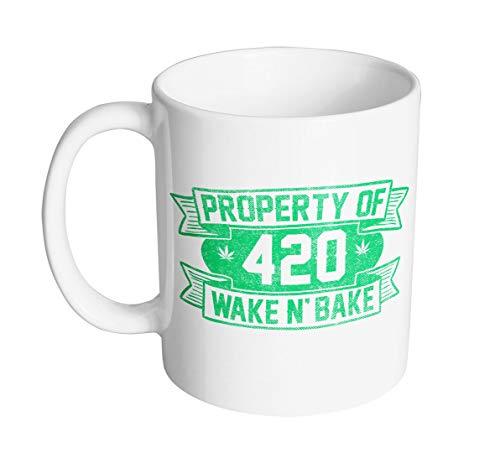 Ceramic Coffee Mug for Women and Men Property Of 420 Wake N' Bake Coffee Mug White Novelty Cup Birthday Presents 11 oz