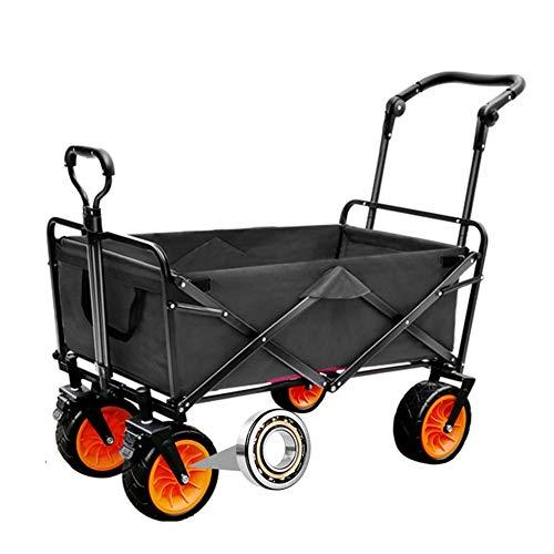 MNSSRN Folding Outdoor-Trolley Cart, bewegliche Anhänger, Picknick-Pull-LKW, Stable Sicherheitsgurt Brake, Multi-Funktions-Trolley Warenkorb Warenkorb,Schwarz,B