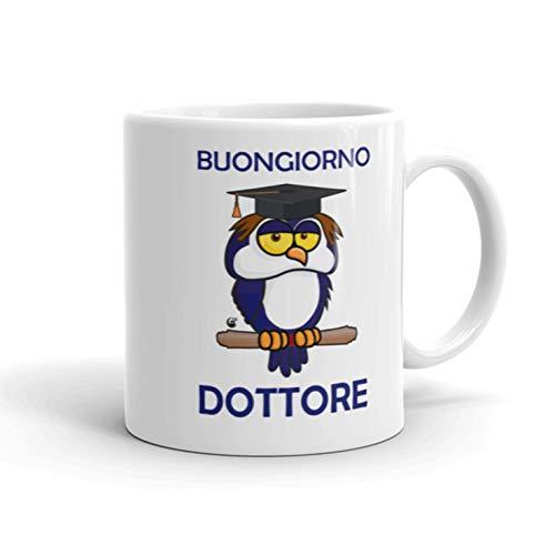 Festival dei Gufi - Taza para doctor con búho original de graduación de café y desayuno para regalo – Bueno doctor – para graduación de cerámica 350 ml