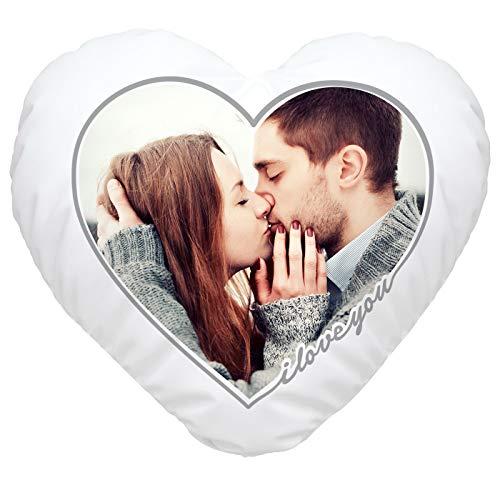 SpecialMe® Herzkissen mit eigenem Foto I Love You Rahmen, Fotokissen Bedrucken Lassen, personalisierte Geschenke & Liebesgeschenke weiß Herz-Kissen