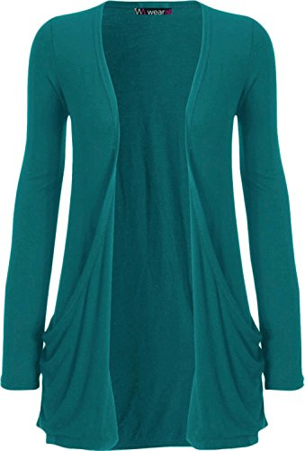 WearAll Neu Damen Langarm Freund Boyfriend Style Strickjacke Cardigan Top - Teal - 36-38