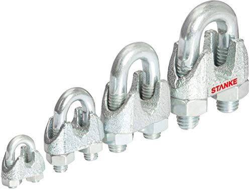 Seilwerk STANKE 10x Seilklemme Bügelform Größe 12 für 12 mm Drahtseile Verzinkt Seilverbinder Stahlseil