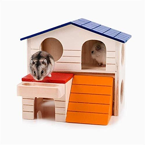 NOCEVCX Hamster hamster camas de madera casa de dos capas de PET pequeño escondite de animales for hámster enano rata del ratón Jerbo Y Otros Rata del animal doméstico Casa (Color: El color del cuadro