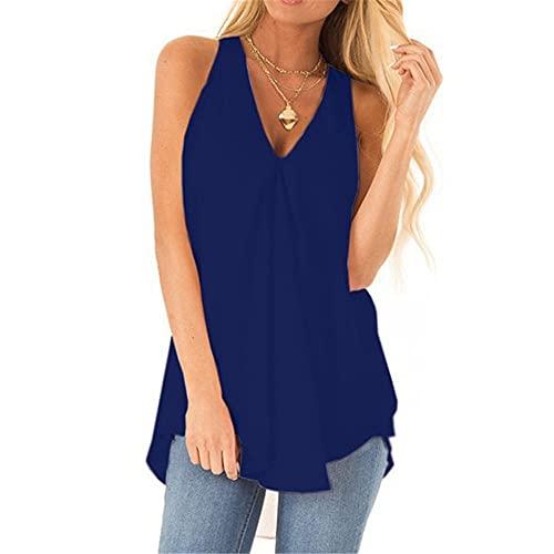 Camiseta Mujer Verano Sexy Cuello V Sin Mangas Camiseta Mujer Color Puro Suelto Simple Gasa Temperamento Citas Cómoda Blusa Mujer C-Dark Blue XL