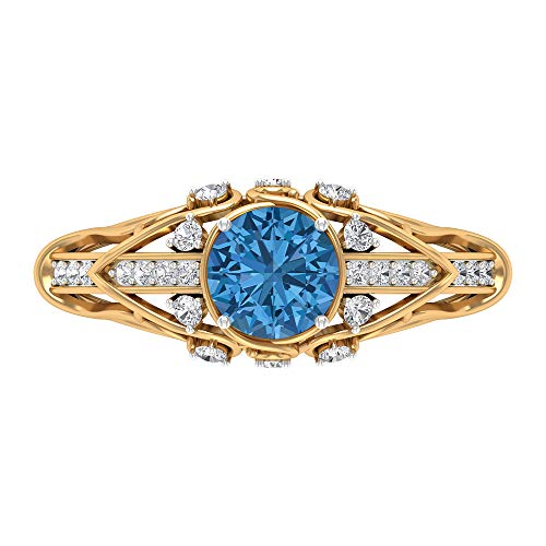 6 MM Lab Created Arctic Blue Sapphire Ring, D-VSSI Moissanite Ring, Solid Gold Engagement Ring, Art Deco Ring, Side Stone Ring (AAAA Quality), 18K Yellow Gold, Size:UK U