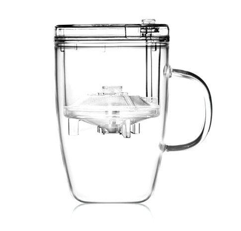 Teeglas Hochwertig mit Infuser und Deckel 400ml, Teetasse mit Deckel und Tee-Sieb, Multi-Aufguss-Fähig