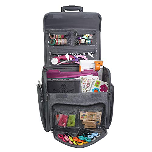 Everything Mary Deluxe Collapsible Rolling Craft Case, Heather - Scrapbook Tote Bag w/Wheels for Scrapbooking & Art - Travel Organizer Storage for IRIS Boxes - for Teachers & Medical
