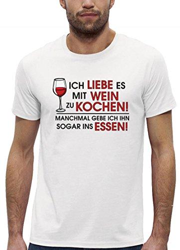 Kochen Koch Köchin Küchen Party Premium Bio Baumwoll Herren Männer T-Shirt Stanley Stella Ich Liebe es mit Wein zu Kochen, Größe: XXL,White