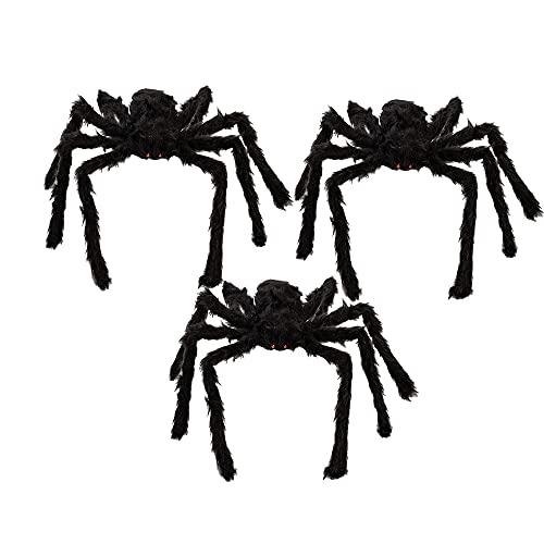 3Pcs 75cm Halloween Araña Gigante Araña de peluche Araña Peluda Gigante con Ojos Que se encienden y Patas Flexibles Araña gigante espeluznante decoración de Realista Haunted House Prop - Negro