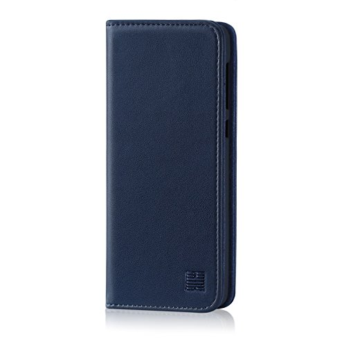 32nd Klassische Series - Lederhülle Hülle Cover für Motorola Moto G6, Echtleder Hülle Entwurf gemacht Mit Kartensteckplatz, Magnetisch & Standfuß - Marineblau