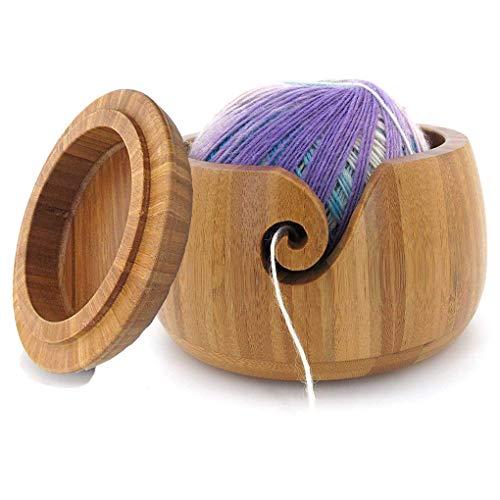 6.0 Zoll Bambus Garn Schüssel Holzschale Garn Aufbewahrung mit Deckel - Zubehör Organizer für Näh und Crochet Halterung - Handgefertigt Stricken Schalen mit Geschnitzte Löcher und gebohrte Löcher #1