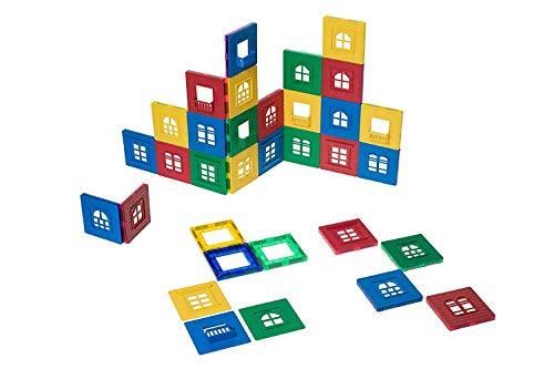 Playmags 60 PC 3D Magnetic Fliesen Gebäude Spielset: Durable Gebäude Set enthält 30 Fensterrahmen und 30 Click-in Windows Set - Learning STEM, die Kreativität anregen und Entwicklung des Gehirns