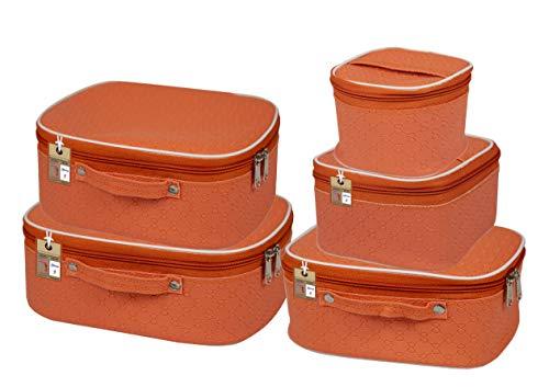 atorakushon® Fabric Makeup Storage Box Travelling Vanity Cosmetic Toiletry Bag Necklace Wardrobe Organizer Jewellery Pouch for Women (Peach)
