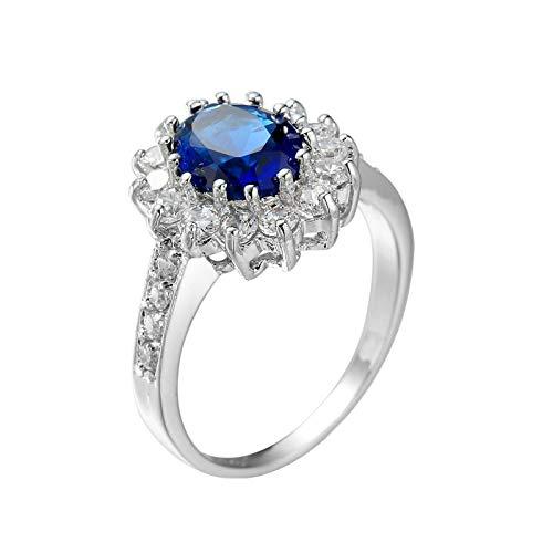 Beydodo Anillos Chapado en Plata Anillos de Boda Mujer Plata Azul Oval con Flor Circonita Azul Talla 20