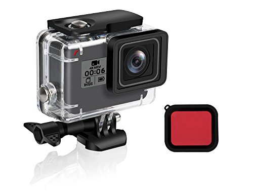 FINEST+ Waterproof Housing Shell for GoPro HERO7/2018/6/5 Black Diving Protective Housing Case 45m with Red Filter, Bracket Accessories for Go Pro Hero7/2018/6/5 Action Camera