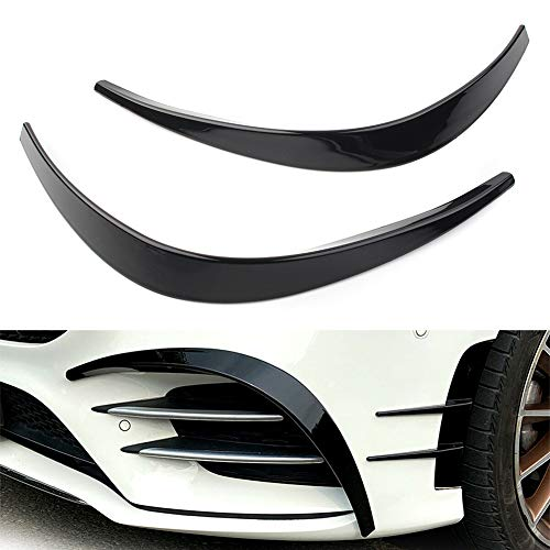 Newsmarts Glossy Black Front Bumper Side Vent Insert Canards Trim Decoration Fits for Mercedes Benz A Class W177 Sport A35 A180 A200 A220 A260 AMG 2019