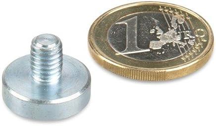 3 St/ück Ganter Normelemente GN 50.3-ND-20-M6 3-ND-20-M6-Haltemagnete mit Au/ßengewinde silber Durchmesser d1: 20mm; Gewinde d2: M6