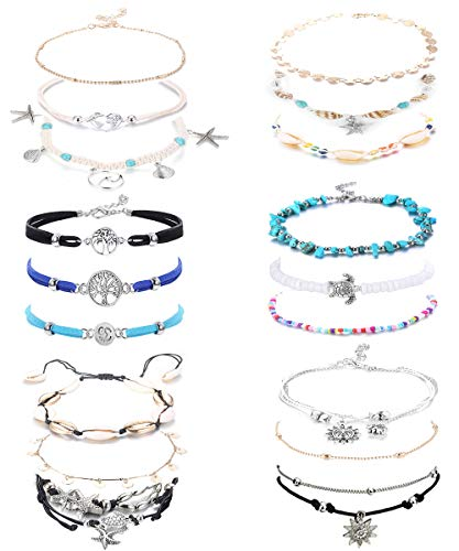 LOYALLOOK 18 Pieces Ankle Bracelets Set Ankle Chain Layered Beach Turtle Anklet Bohemian Beach Anklet Jewelry for Women