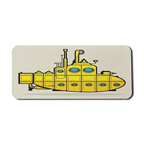 Gelbes U-Boot-Computer-Mauspad, Retro-Grunge-Marineschiff Industrielles Nautisches Meer-Thema, Rechteck-rutschfestes Gummi-Mousepad X-Large-Spielgröße, Blaugrau