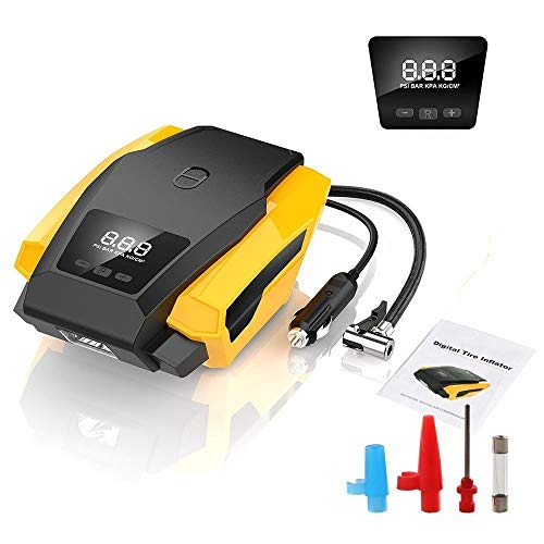 GTE bandenpomp, 12 V, 120 W, 150 psi, luchtcompressor, luchtpomp, digitaal display, LED-licht, gebruikt voor auto/fiets/airLite/motorfiets enz.