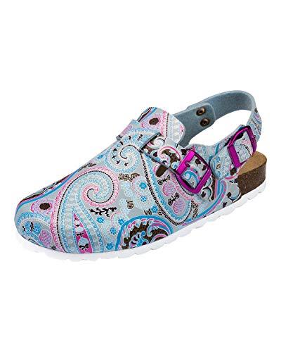 CLINIC DRESS Clog - Clogs Damen bunt/blau Motiv. Schuhe für Krankenschwestern, Ärzte oder Pflegekräfte bunt/blau, grafisches Muster, Paisley 42