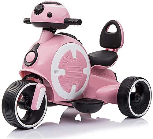 LAL6 Motocicleta Eléctrica Niño Triciclo 1-4 Años Juguete De La Batería De Coche De Coches Cochecito Niños Pueden Sentarse Personas (30 Kg De Carga),Pink