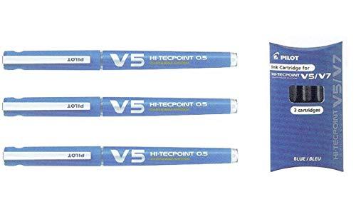 Pilot V5 Hi-tecpoint 0.5 - Bolígrafo de tinta líquida recargable (3 unidades), color azul