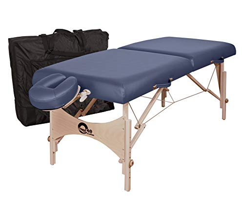 "OAKWORKS ONE Portable Massage Table, Package, Professional Massage Bed w/Quicklock Platform, Aerocel Face rest, & Carry Case, Spa Level Comfort, Adjustable 24""-34"" H, USA Made (Sapphire)"