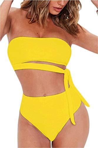 FAFOFA Ladies High Waisted 2PCS Beachwear Plus Size Bandeau Tie Waist Strappy Bandage Bikini Set Outfit XL Yellow