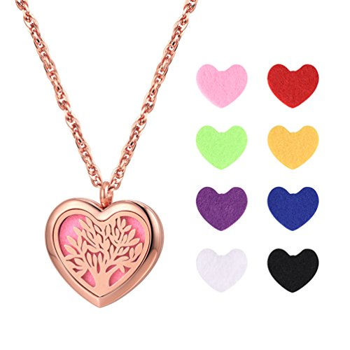 PROSTEEL Rose Gold Plated Heart Necklace Tree of Life Essential Oil Diffuser Locket Pendant & Chain Women Jewelry Aromatherapy Necklace Mothers Day Gift