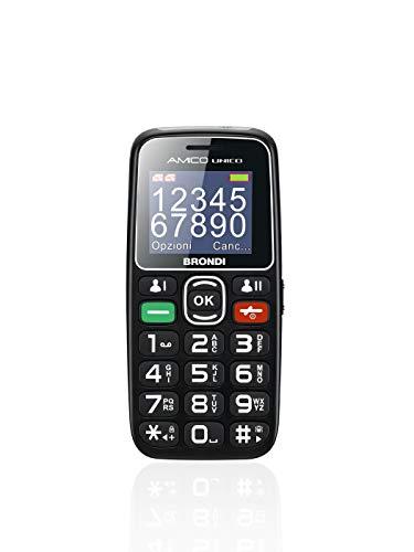 Brondi Amico Unico, Telefono cellulare GSM per anziani con tasti grandi, tasto SOS e funzione da remoto, dual SIM, volume alto, Nero