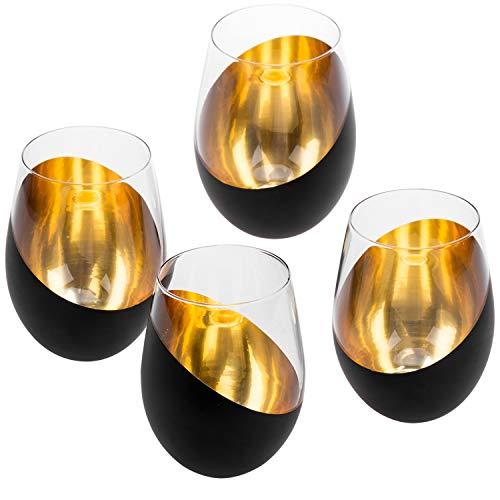 MyGift Weingläser ohne Stiel, matt, Schwarz / Gold, 4 Stück