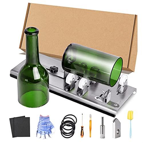 Kit de Cortador de Botellas de Vidrio con Sistema de Pista Ajustable. Acero Inoxidable Bricolaje Máquina para Cortar Botella de Cerveza, Botella de Vino, champán, Botellas de Licor.