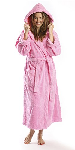 PARADOR Full Length Hooded Terry Bathrobe Unisex, 100% Combed Pure Turkish Cotton, Made in Turkey,Pink,Medium