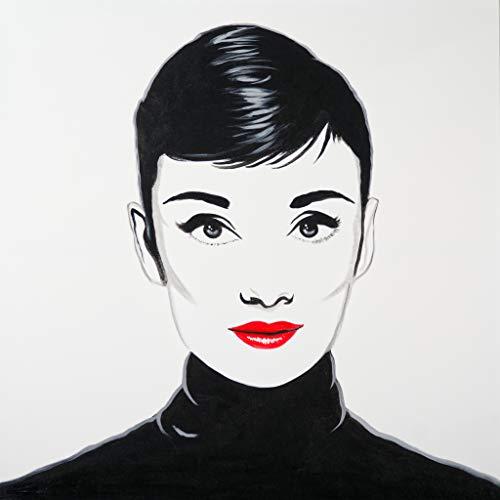 Cuadro Pintado Audrey Pop Art 100x100 cm 100% Original sobre Lienzo