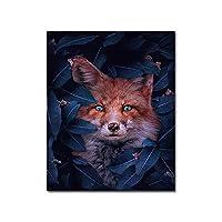 面白い動物キツネキャンバス絵画花壁アートポスターとプリントプリント画像リビングルーム家の壁の装飾壁画30x50cmフレームレス