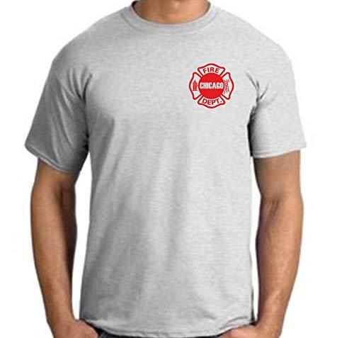 feuer1 T-Shirt ash, Chicago Fire Dept, rotes Standard-Emblem auf der Brust 2XL